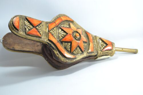 African Brass Moroccan Art Air Blower wood and leather Engraved inlay Camel Bone