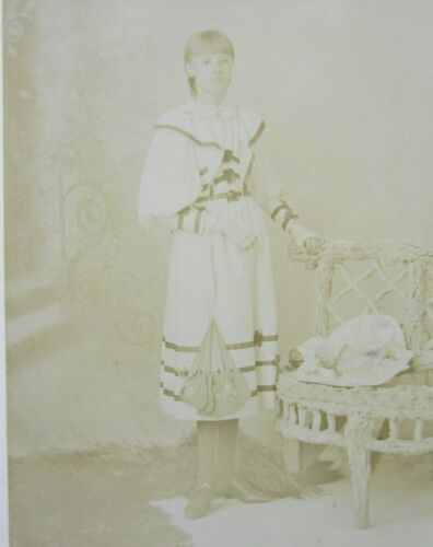Victorian Antique Cabinet Card Photo of Young Girl Teenager