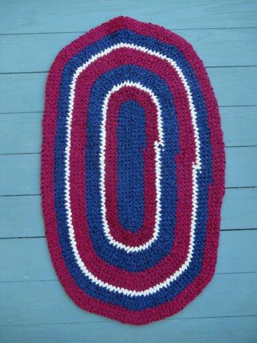 "Vintage Rag Rug Oval, Crocheted 36"" x 23"", Red, White, Blue, Clean Fresh"