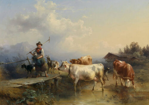 Dream-art Oil painting Cattle Herder cowhand cows cattle hand painted art canvas