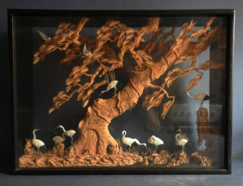 LARGE GOOD QUALITY CHINESE CORK CARVING WITH FLOCK OF CRANES