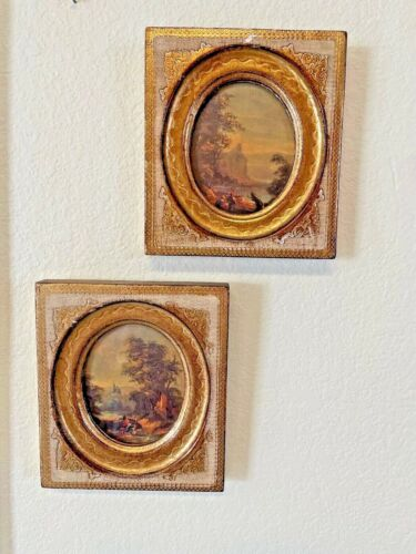 Pair of Italian Florentine Pastoral Prints with Gold Gilt Wood Frames
