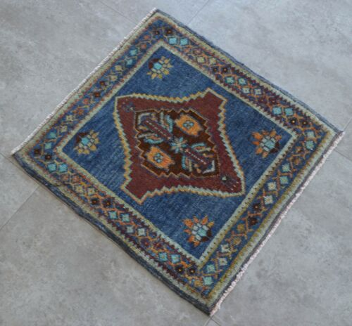 """Vintage Distressed Small Area Rug Hand Knotted Oushak Rugs Yastik -1'10""""x1'11'"""