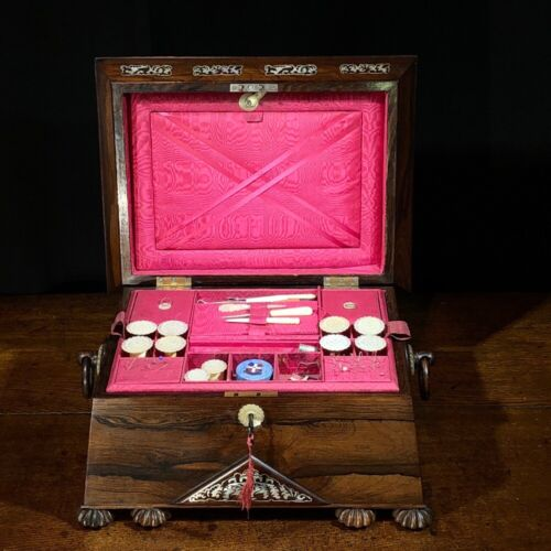 William IV Rosewood sewing box, musical with contents, c.1835