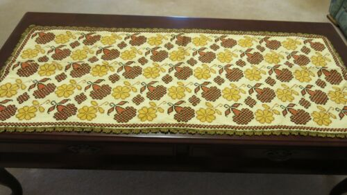 Exceptional Antique Handmade Counted Cross Stitch Table Runner 112cm