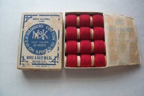 Antique M & K Morse & Kaley Embroidery Cotton Thread Wooden Spool Box Milford NH
