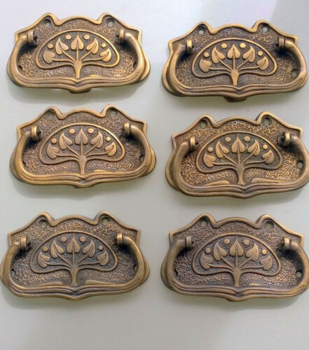 6 medium DECO cabinet handles solid brass watson A8 antiques age old style 9cm B