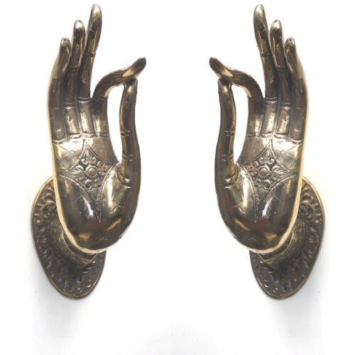 2 BUDDHA DOOR handle solid polished brass antique old style hand fingers 25 cm B