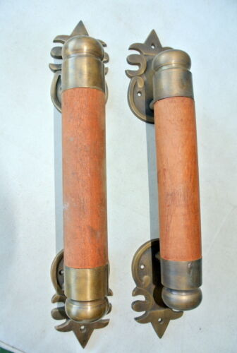 """2 Dark thick handle pull solid brass wood mahogany old vintage style DOOR 15""""B"""