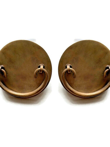 """2 oval Asian shape pulls handle antique solid brass vintage 3.1/2 """" old style B"""
