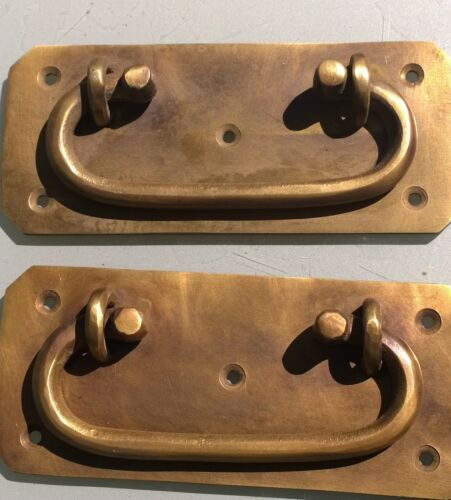 """2 BOX HANDLES chest brass furniture antiques old vintage style 5"""" solid BRASS B"""
