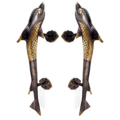2 large DOLPHIN handle door PULL solid brass hollow old aged style 37cm B