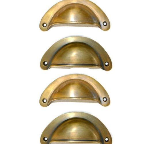 """4 heavy shell shape pulls handle antique solid brass vintage 4"""" vintage style B"""