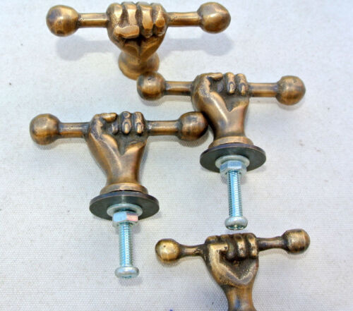 4 small pulls handles FIST solid brass old style shape HAND knobs heavy 45mm B
