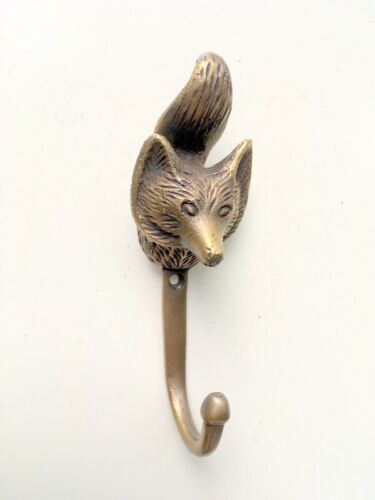 "FOX Head 4.1/4"" Solid Brass hook Antique Strong Wall Mount Coat Hat Hook"