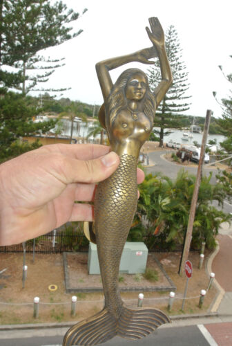 """large LEFT MERMAID solid brass door PULL old style heavy house handle 15"""" aged B"""