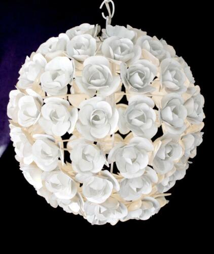 """16"""" Round """"White Rose"""" Wrought Iron, Floral  Bouquet, Pendant Chandelier"""
