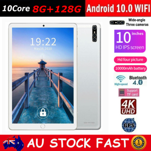 10.1 inch Android 10.0 8GB+128GB HD Tablet PC WiFi Bluetooth GPS Three Camera AU