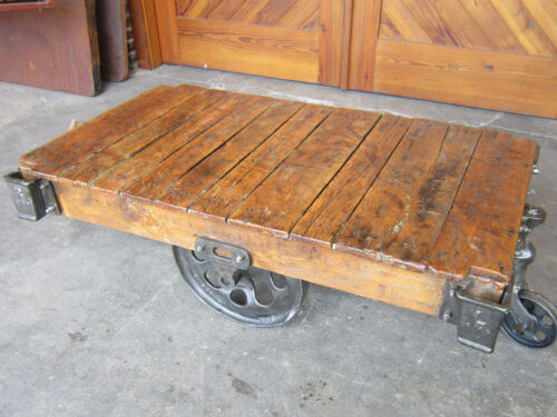 Restored Factory Cart Coffee Table-Vintage Lineberry Industrial-Railroad Iron