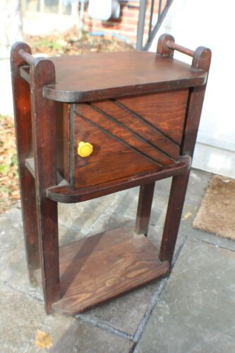 Antique Art Deco Wood Homemade Smoking Stand Tobacco With Bakelite Handle c1920s
