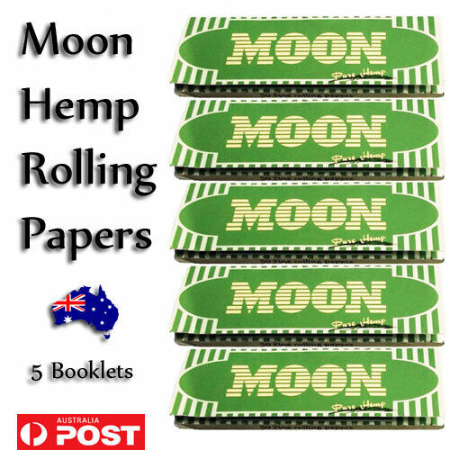 Moon Hemp Cigarette Papers 5 Booklets 250 Leaves 70*36mm FREE Postage AU Rolling