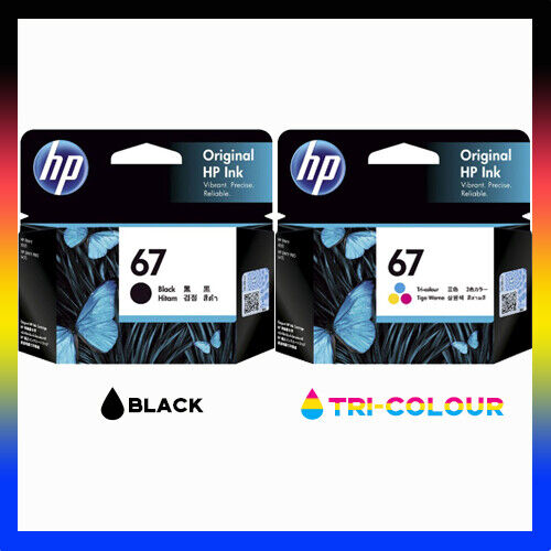 2 x Genuine HP67 Ink Cartridges BLACK+COLOUR for hp Envy 6020 Pro 6420