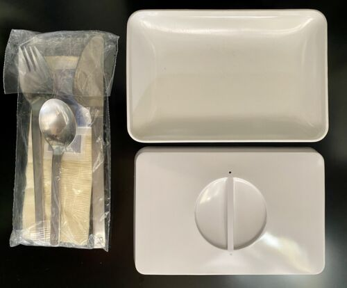 ANSETT AIRLINES Australia Aviation Collectables Meal Dish + Lid + Cutlery Set