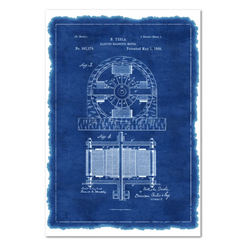 Electro Motor Patent Poster - Invention Blue Print Wall Art - High Quality Print