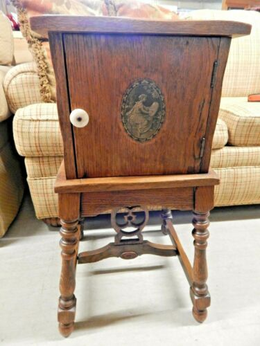 ANTIQUE EARLY 1900s COPPER LINED OAK SMOKING STAND