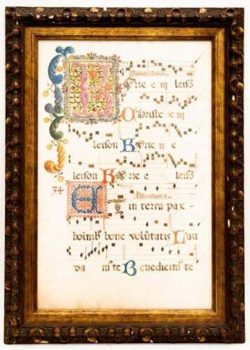 ANTIQUE GREGORIAN CHANT ILLUMINATED MUSIC SONG MANUSCRIPT