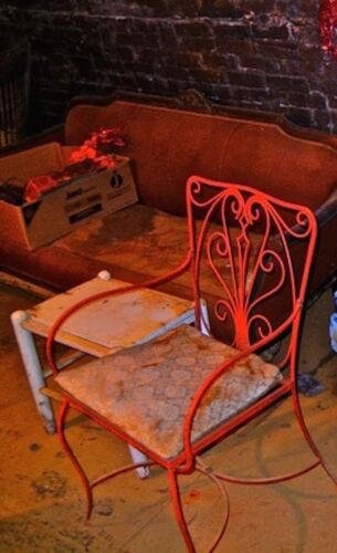 Antique wrought iron Salterini  style  patio chair  garden 1950