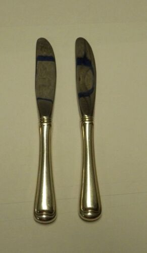 """2 Gorham Old French Sterling Silver Handle Butter Spreaders No Mono 6 1/4"""" 1905"""