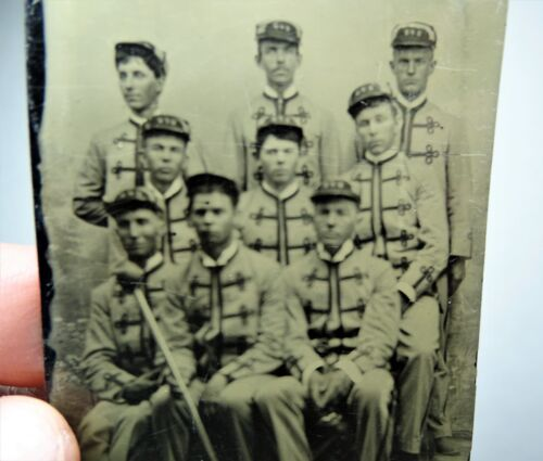 SUPER Tintype Photo Collection Lot - Elmira NY 1880s Firemen Musicians Trumpet