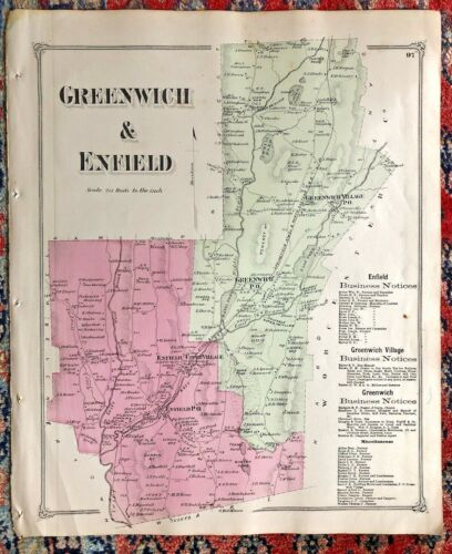 QUABBIN TOWNS 1873 MAP GREENWICH & ENFIELD MA Flooded Under Quabbin Reservoir