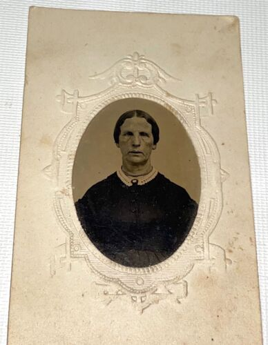 Rare Antique Victorian American Scary Looking Woman, Long Neck Tintype Photo! US