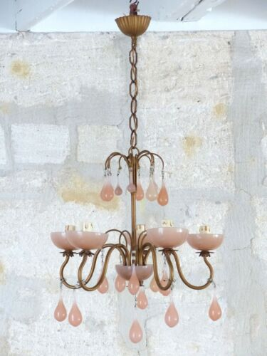 Antique Chandelier Peachy PINK Opaline Drops Cup Beads 1930 MURANO RARE 5 lights