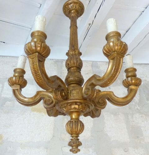 Gorgeous Antique Italian 6 Arms Gilded Carved Wood Chandelier Ceiling Late 1920