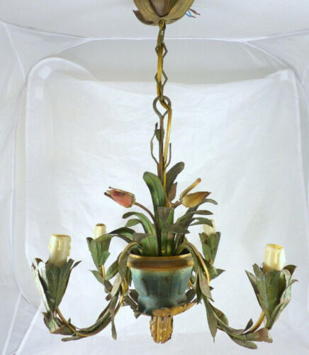 1940 French Painted Tole Tulip Flowers Pot Chandelier Ceiling Vintage 4 Lights