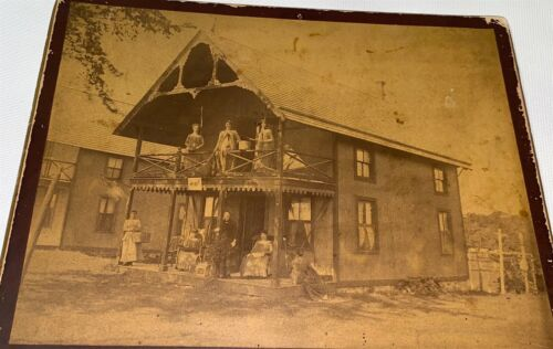 Rare Antique Victorian American Vacation Cabin, WRF Sign! Ladies Cabinet Photo!