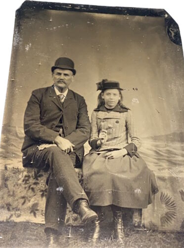 Rare Antique Victorian American Father & Daughter, Girl & Flower Tintype Photo!