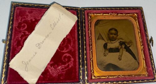 Rare Antique American Sister of Famous NY Soldier Duncan Elliott Ambrotype Photo