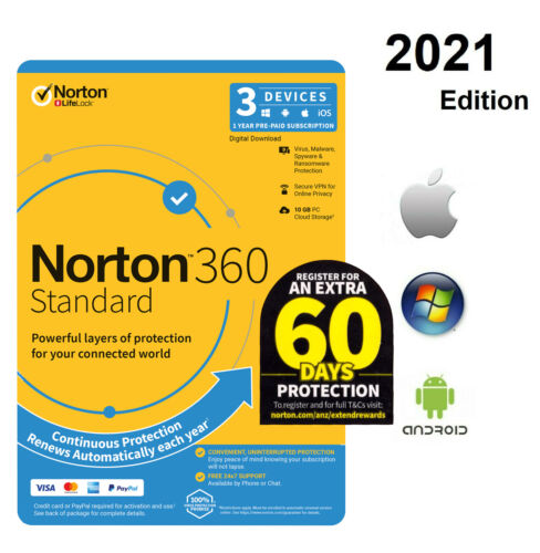 Norton 360  3 Device -1 Year PC, MAC, Android, iOS -2021 Edition  License key