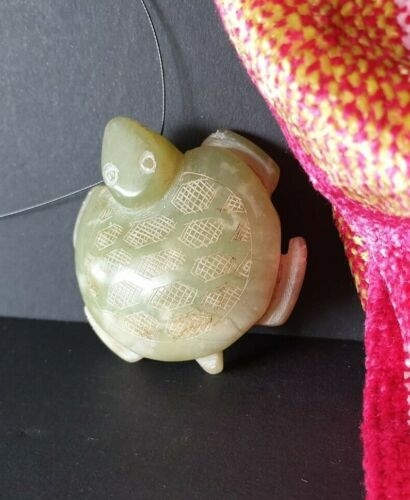 Old Chinese Carved Turtle Pendant on Cord in Pale Greenstone Jade …beautiful col