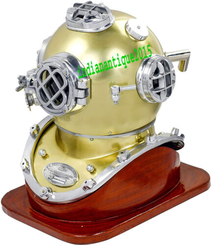 "Diving Helmet Navy Mark Deep Scuba Divers Antique Helmet Chrome 18"" Diving Helm"