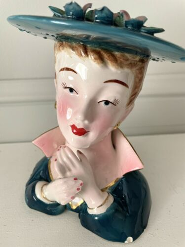 LADY HEAD VASE Ceramic Vintage Retro Made in Japan Red Lips Height 13cm