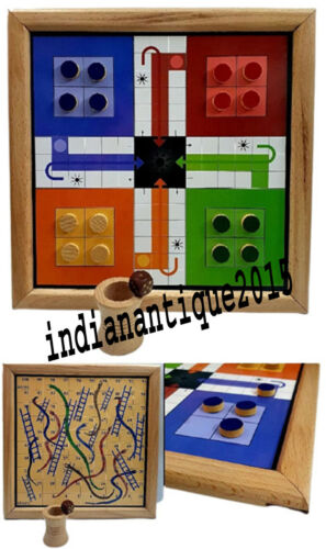 Best 2 in 1 Wooden Ludo & Snakes Ladders Board Game Set