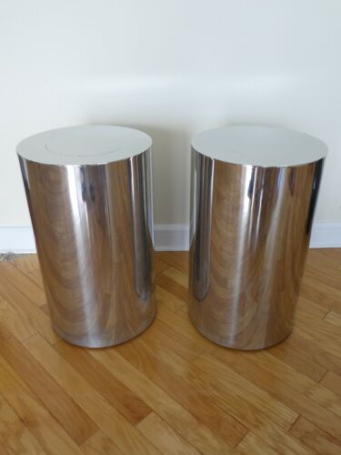 HIGH STYLE 1970'S  BRUETON POLISHED STEEL PEDESTALS - A PAIR