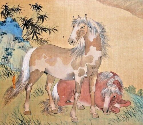 Chinese Painting of Wild Horses with Calligraphy and Mark