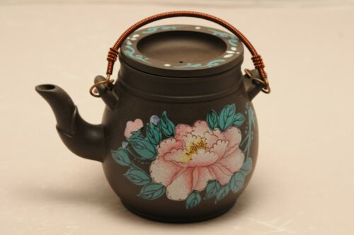 Chinese yixing purple clay teapot copper colorful painted Never Used