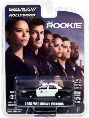 """2008 Ford Crown Victoria Police Car """"The Rookie"""" / Greenlight Hollywood 1:64"""